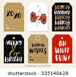 christmas gift tag with... | Shutterstock .eps vector #335140628