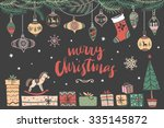 christmas hand drawn design... | Shutterstock .eps vector #335145872