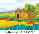 cartoon farm scene  ... | Shutterstock . vector #335151722