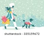 woman with dog christmas...   Shutterstock .eps vector #335159672