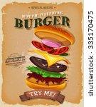 grunge and vintage burger... | Shutterstock .eps vector #335170475