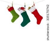 Colorful Xmas Socks. Red  Gree...