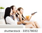 happy young woman group  eating ... | Shutterstock . vector #335178032