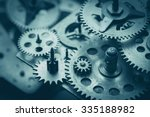 gears and cogs macro  blue toned | Shutterstock . vector #335188982