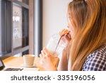 beautiful asian girls busy...   Shutterstock . vector #335196056