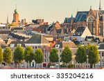 ancient dutch houses and church ... | Shutterstock . vector #335204216