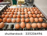 Small photo of Automated sorting of raw and fresh chicken eggs in a packing facility. Agribusiness, food production, organic farming, customer support and trade concept.
