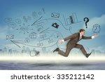 businessman running fast on... | Shutterstock . vector #335212142