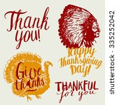 give thanks calligraphy. indian ... | Shutterstock .eps vector #335252042