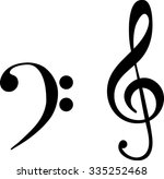 black the bass and treble clef  ... | Shutterstock .eps vector #335252468