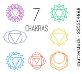 set of seven colorful chakras.... | Shutterstock .eps vector #335254868