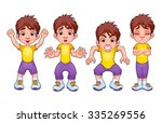 four poses of the same child ... | Shutterstock .eps vector #335269556