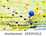sao paulo pinned on a map of... | Shutterstock . vector #335291012