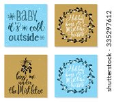 collection of 4 creative... | Shutterstock .eps vector #335297612