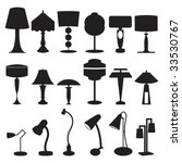 Vector Silhouette Set Of Lamps...