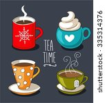 set of cute mug in doodle style | Shutterstock .eps vector #335314376