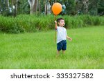 little boy catch with balloon   Shutterstock . vector #335327582