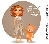 cute girl with teddy bear | Shutterstock .eps vector #335354012