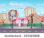 seamless texture summer town...   Shutterstock . vector #335365808