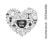 hand drawn coffee time... | Shutterstock .eps vector #335366486