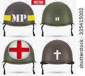 set of military us green helmet ... | Shutterstock .eps vector #335415002