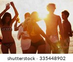 beach summer party enjoyment... | Shutterstock . vector #335448902