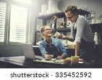 man woman craftsman talking... | Shutterstock . vector #335452592