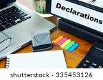 declarations   ring binder on... | Shutterstock . vector #335453126