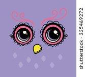 Stock vector cartoon style owl face tshirt graphic 335469272