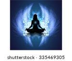 yoga woman meditate dark blue...