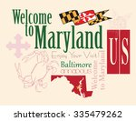 banner maryland a map with the... | Shutterstock .eps vector #335479262