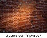 Oblique  Spotlit Red Brick Wal...