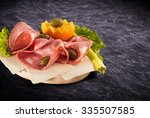 mortadella slice and vegetables ... | Shutterstock . vector #335507585