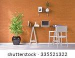 laptop computer on desk in... | Shutterstock . vector #335521322