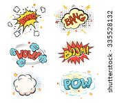 boom. comic book explosion and... | Shutterstock .eps vector #335528132