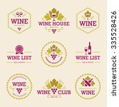 set of colored wine labels and... | Shutterstock .eps vector #335528426