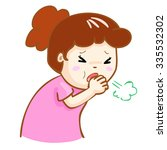 ill woman coughing hard cause... | Shutterstock .eps vector #335532302
