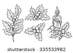 decorative  holly branches and... | Shutterstock .eps vector #335533982