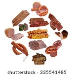 variety of sausage products.  | Shutterstock . vector #335541485