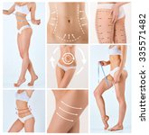collage of female body with the ... | Shutterstock . vector #335571482