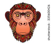 vector color ethnic monkey... | Shutterstock .eps vector #335600426