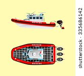 Red rescue boat on the water. Left side. Top view. Isolated objects. Coast security. Vector illustration - stock vector