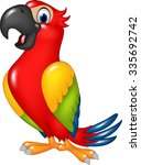 cartoon funny parrot isolated... | Shutterstock .eps vector #335692742