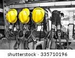 fireman hat in fire truck... | Shutterstock . vector #335710196