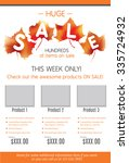 huge fall sale product flyer... | Shutterstock .eps vector #335724932