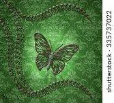 wonderful butterflies on green... | Shutterstock . vector #335737022
