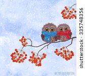 Winter Card With Owls On A...
