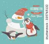 funny penguins with snowman... | Shutterstock .eps vector #335765132