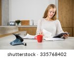 young woman with bills and... | Shutterstock . vector #335768402