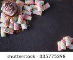 fun sweet frame on slate black...   Shutterstock . vector #335775398